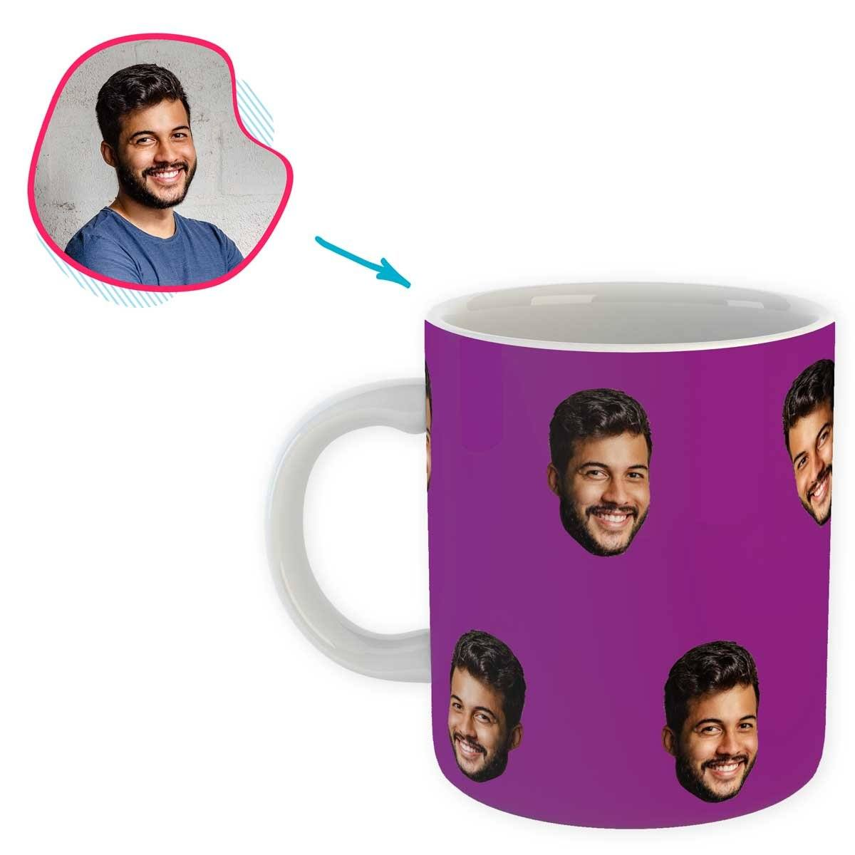purple Blank design mug personalized with photo of face printed on it