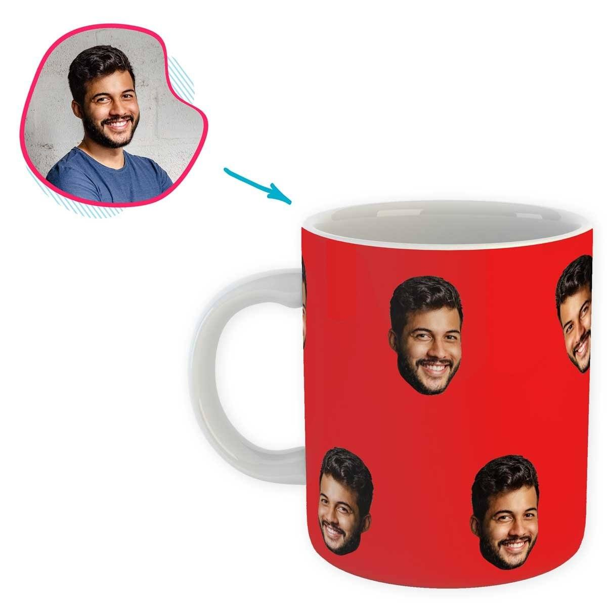 red Blank design mug personalized with photo of face printed on it