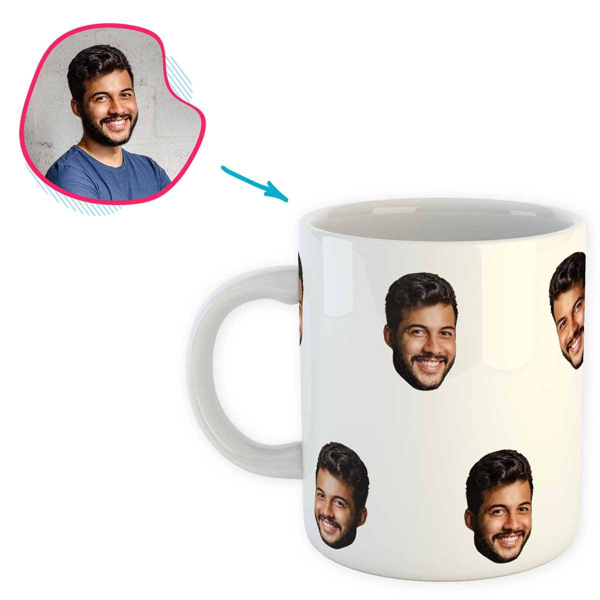 white Blank design mug personalized with photo of face printed on it