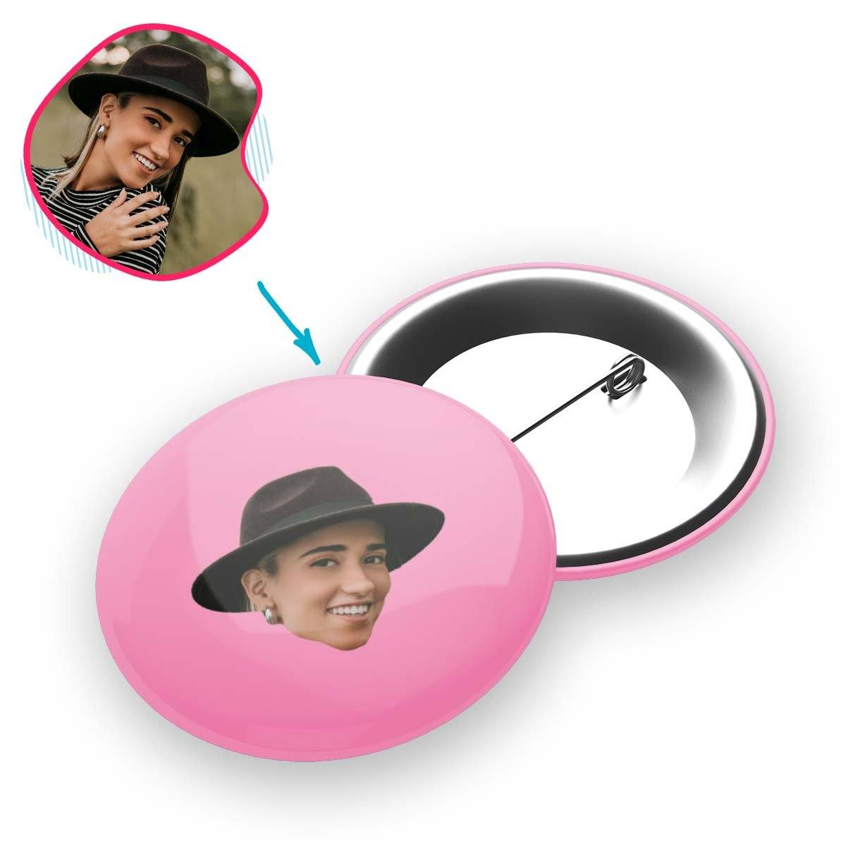 pink Blank design pin personalized with photo of face printed on it