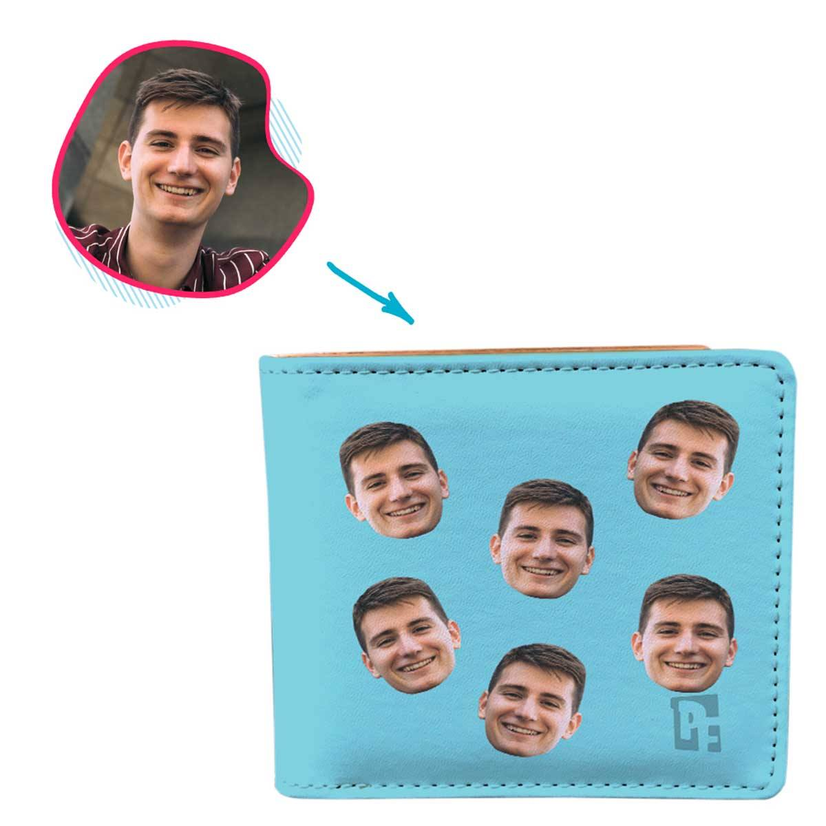 blue Blank design wallet personalized with photo of face printed on it