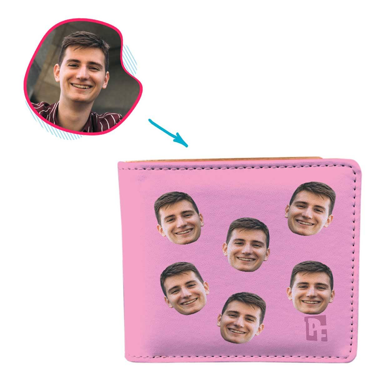 pink Blank design wallet personalized with photo of face printed on it