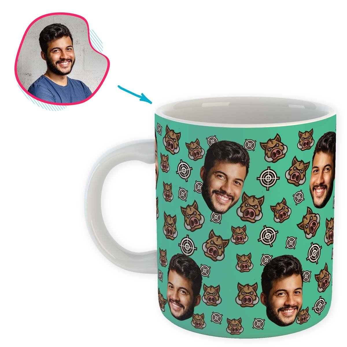 mint Boar Hunter mug personalized with photo of face printed on it