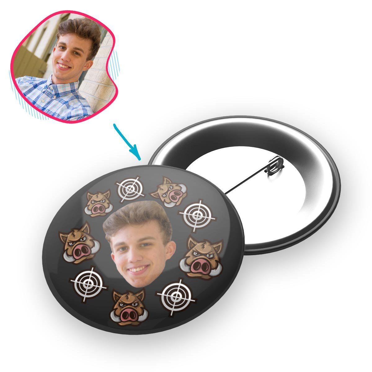 dark Boar Hunter pin personalized with photo of face printed on it