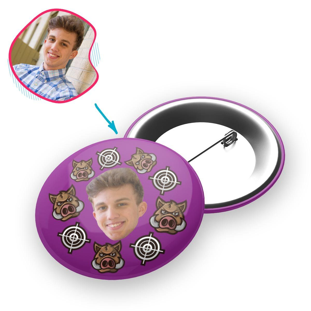 purple Boar Hunter pin personalized with photo of face printed on it