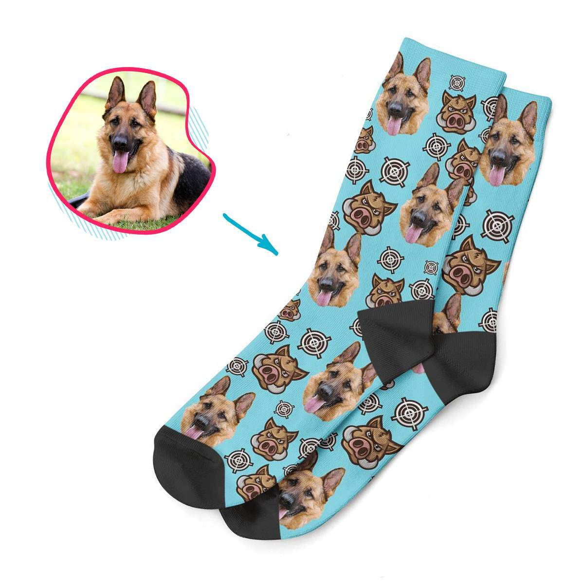 blue Boar Hunter socks personalized with photo of face printed on them