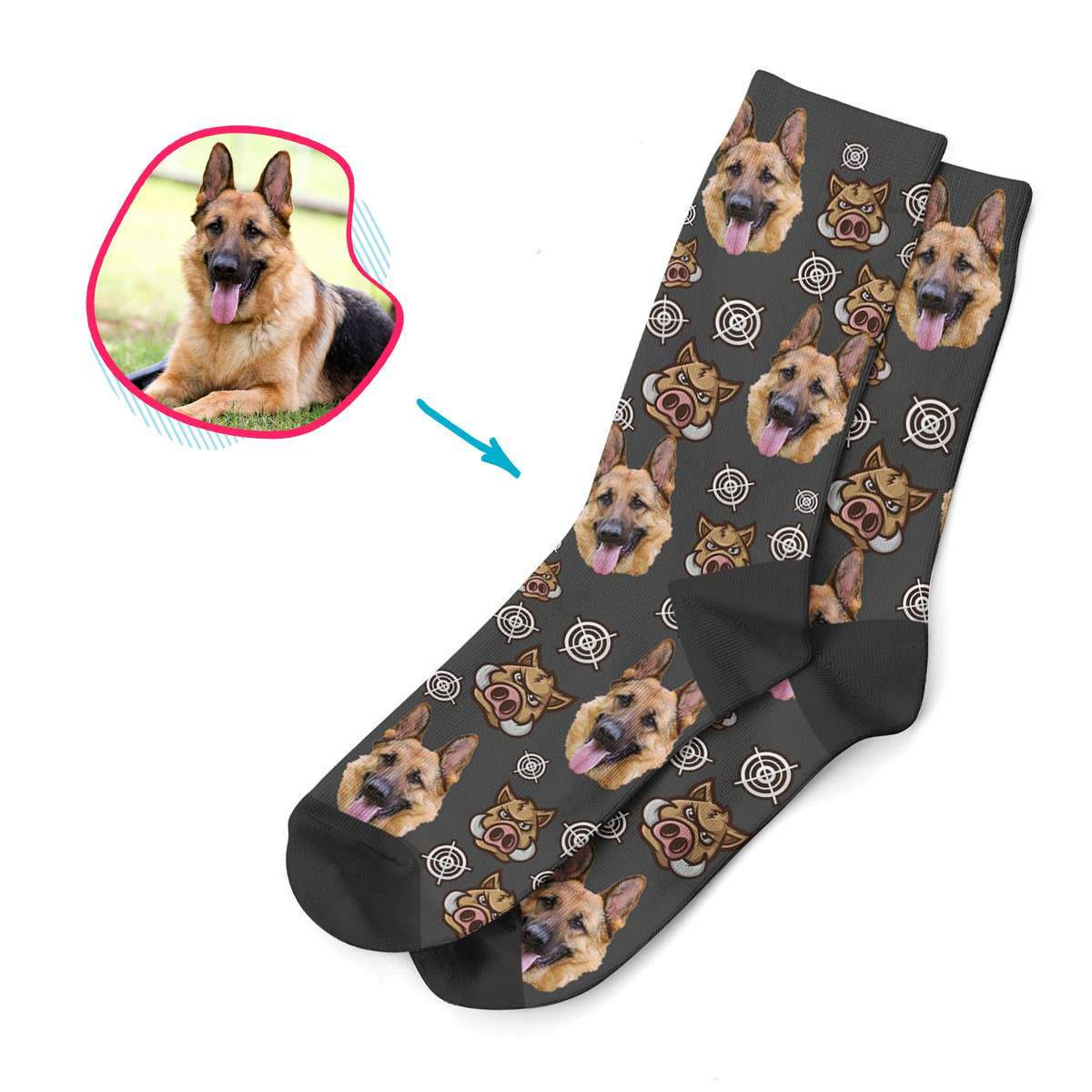 dark Boar Hunter socks personalized with photo of face printed on them