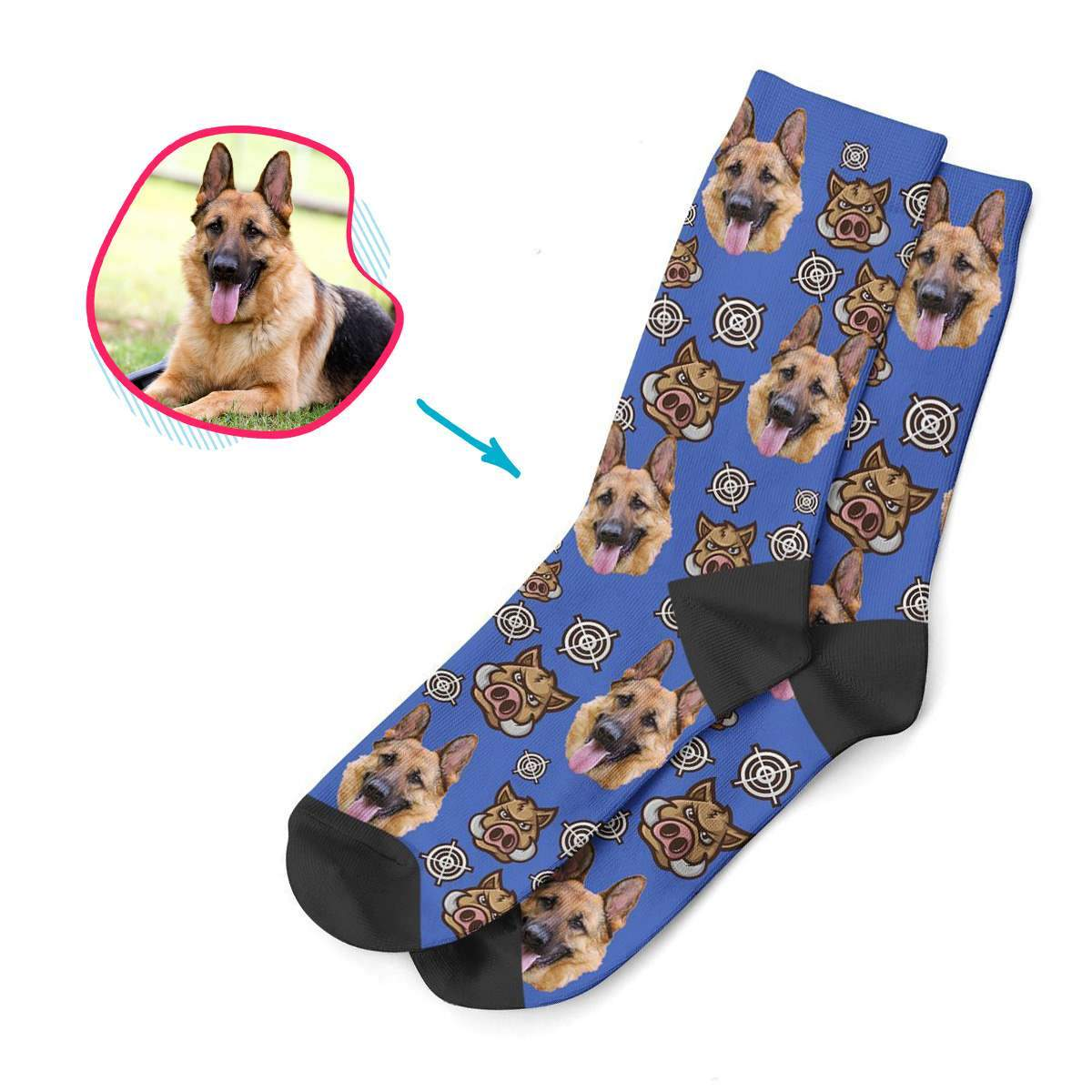 darkblue Boar Hunter socks personalized with photo of face printed on them