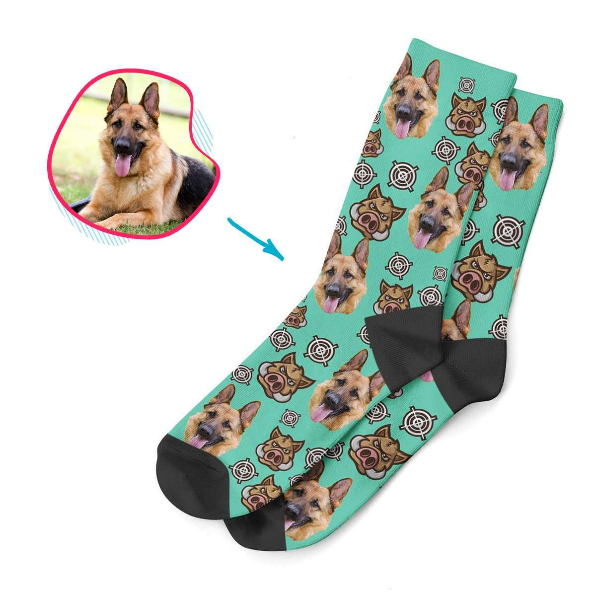 mint Boar Hunter socks personalized with photo of face printed on them