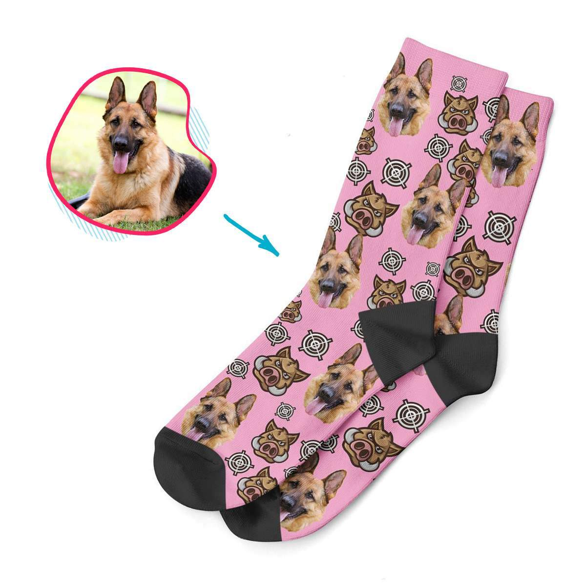 purple Boar Hunter socks personalized with photo of face printed on them