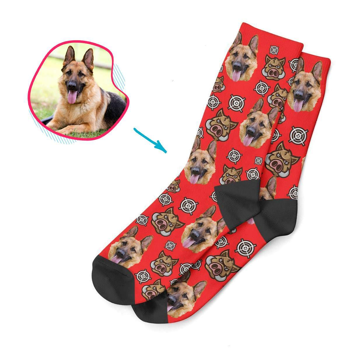 white Boar Hunter socks personalized with photo of face printed on them