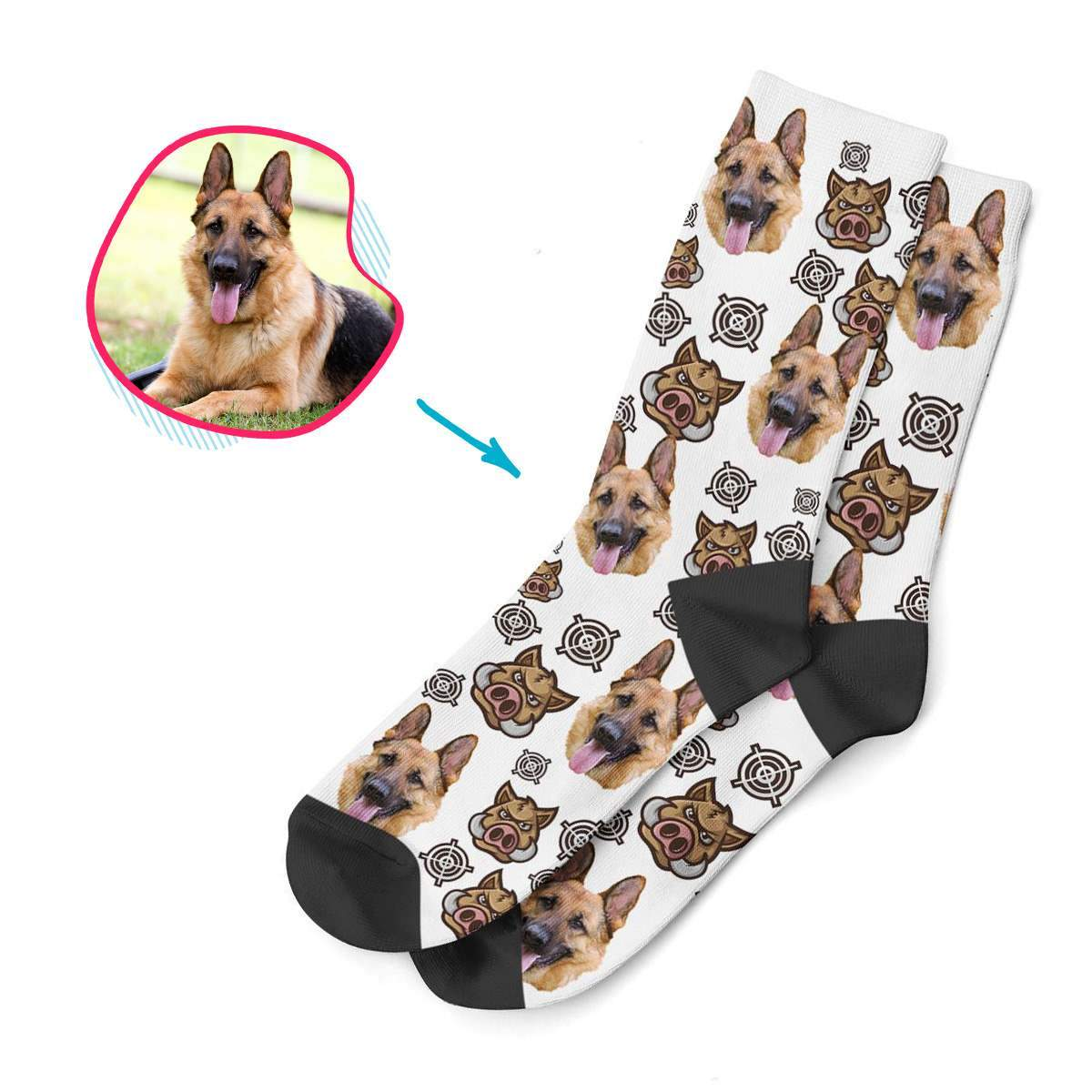 pink Boar Hunter socks personalized with photo of face printed on them