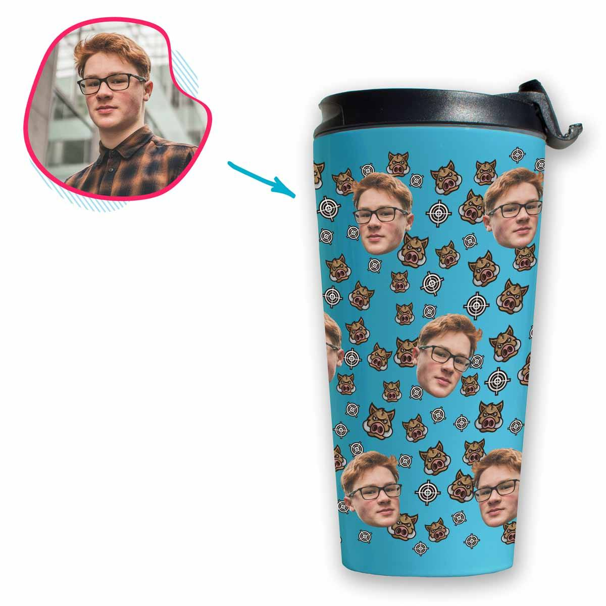 blue Boar Hunter travel mug personalized with photo of face printed on it