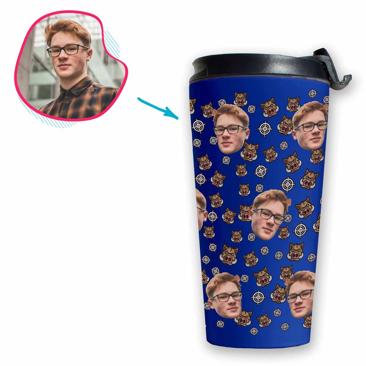 darkblue Boar Hunter travel mug personalized with photo of face printed on it