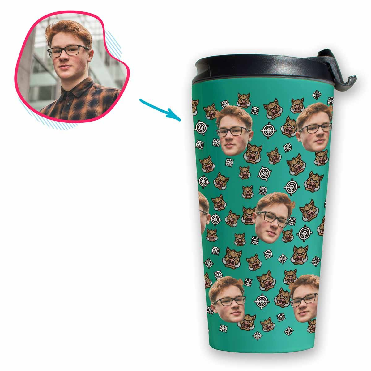 mint Boar Hunter travel mug personalized with photo of face printed on it