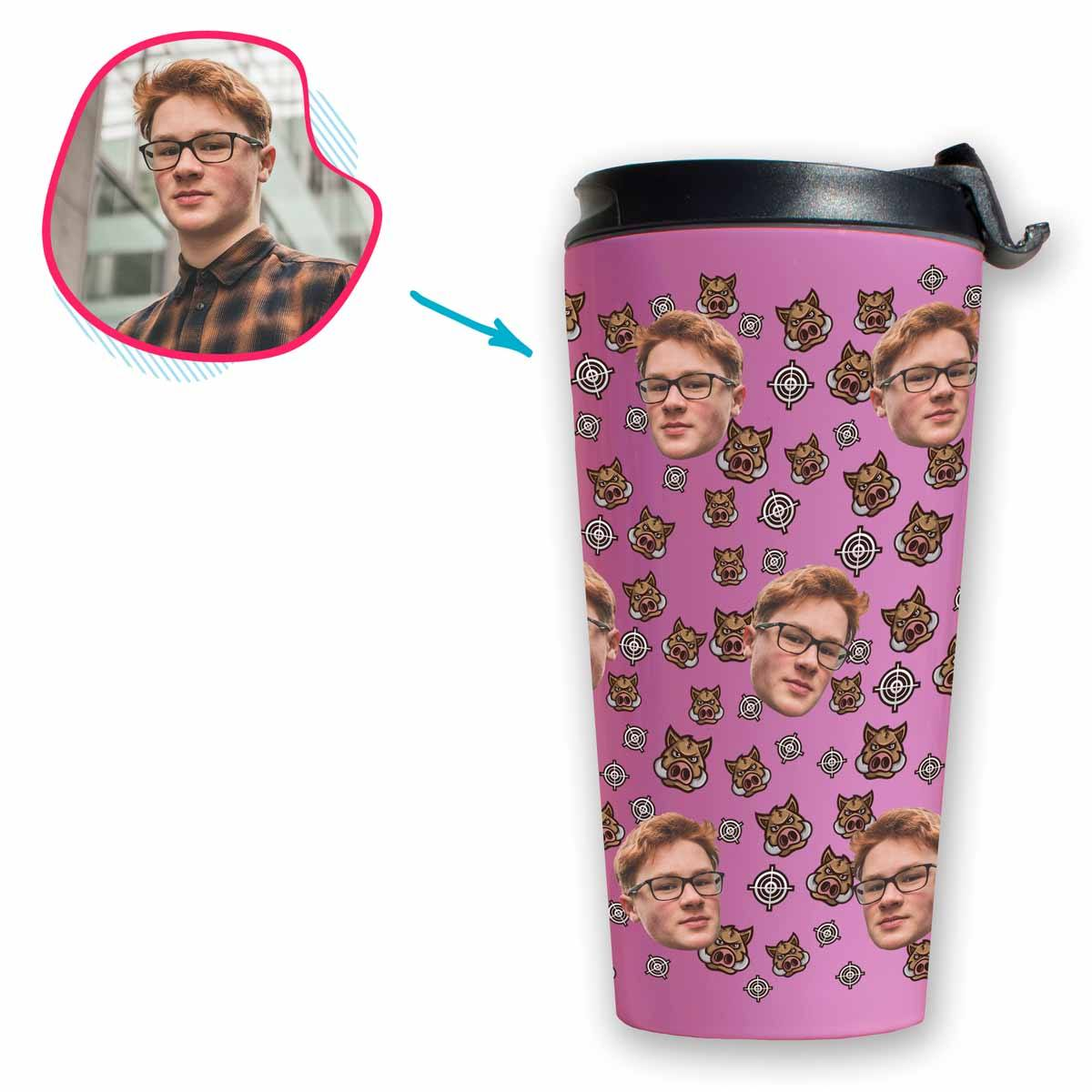 pink Boar Hunter travel mug personalized with photo of face printed on it
