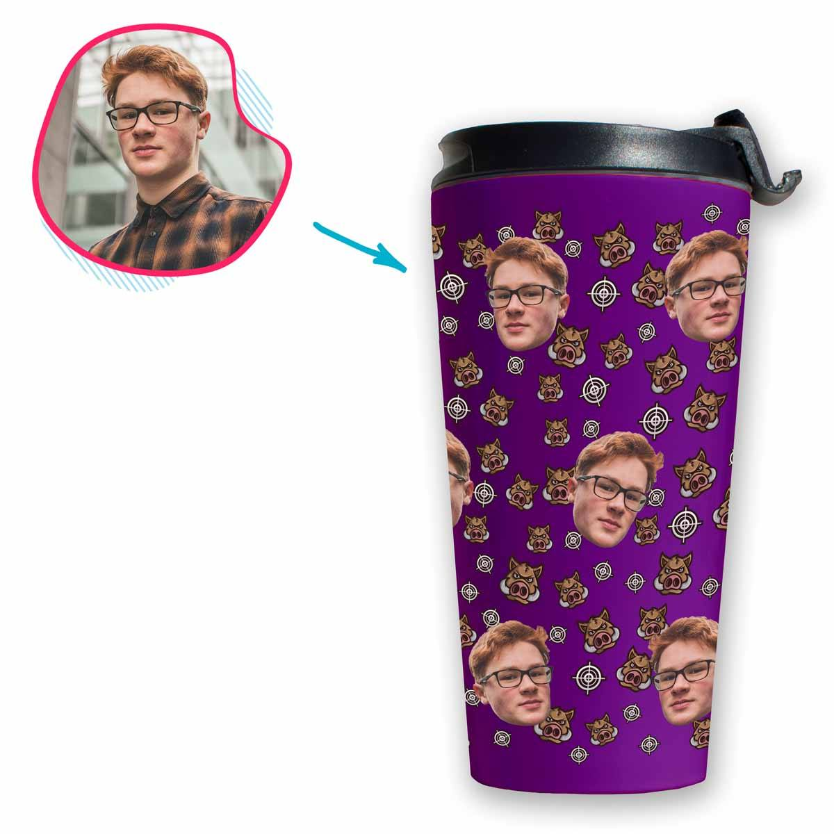purple Boar Hunter travel mug personalized with photo of face printed on it