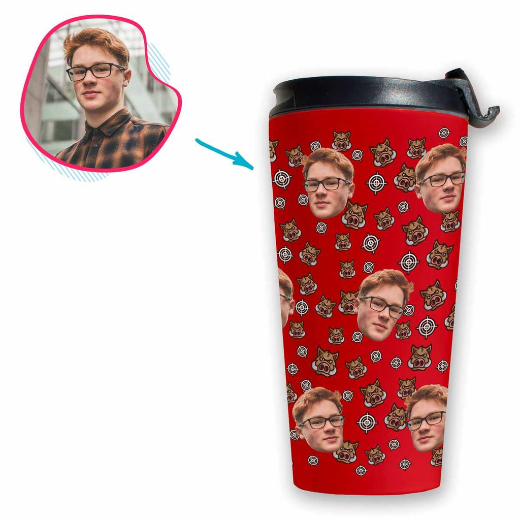 red Boar Hunter travel mug personalized with photo of face printed on it