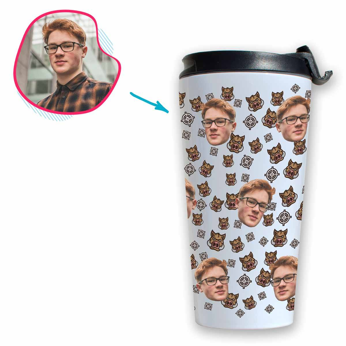 white Boar Hunter travel mug personalized with photo of face printed on it