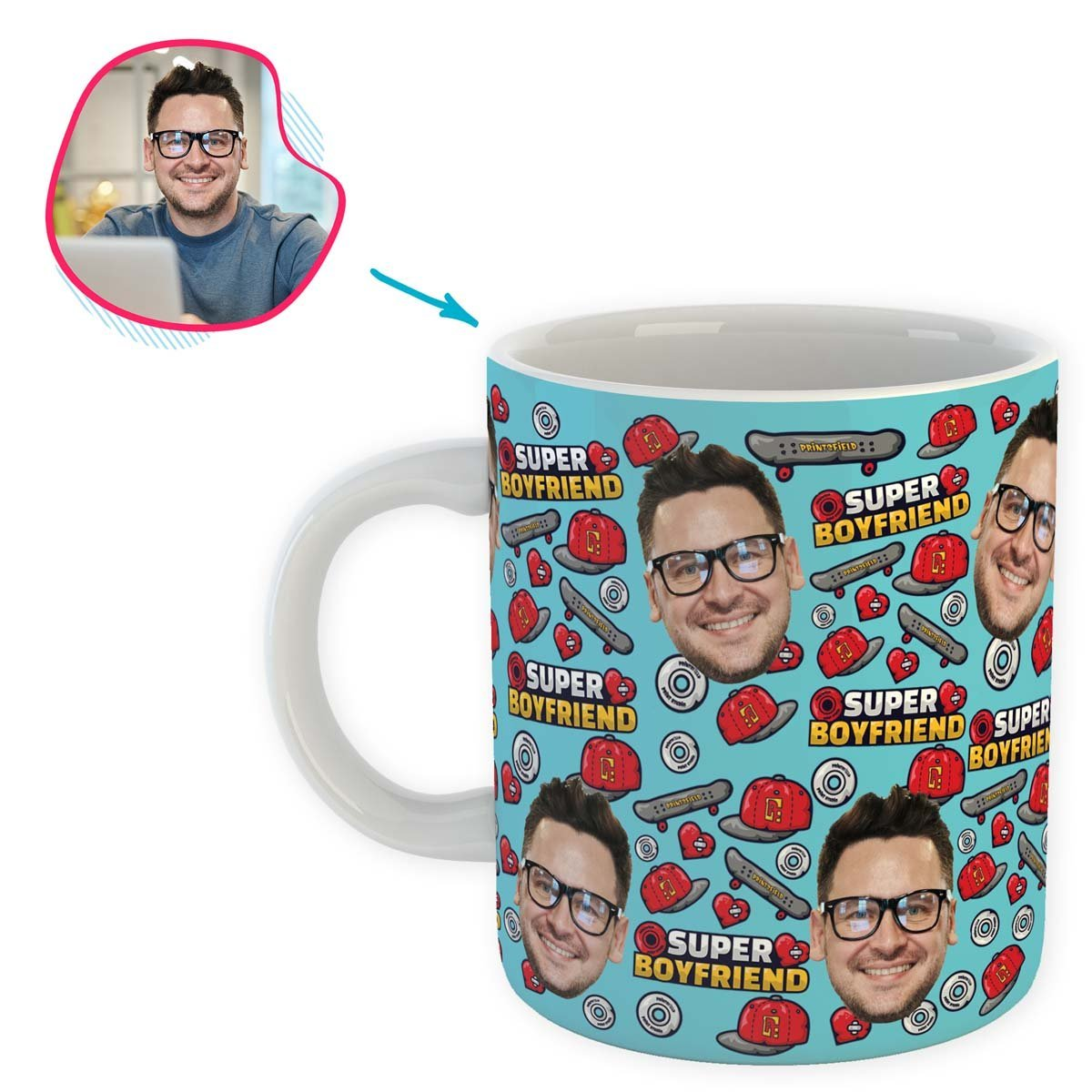 Blue Boyfriend personalized mug with photo of face printed on it