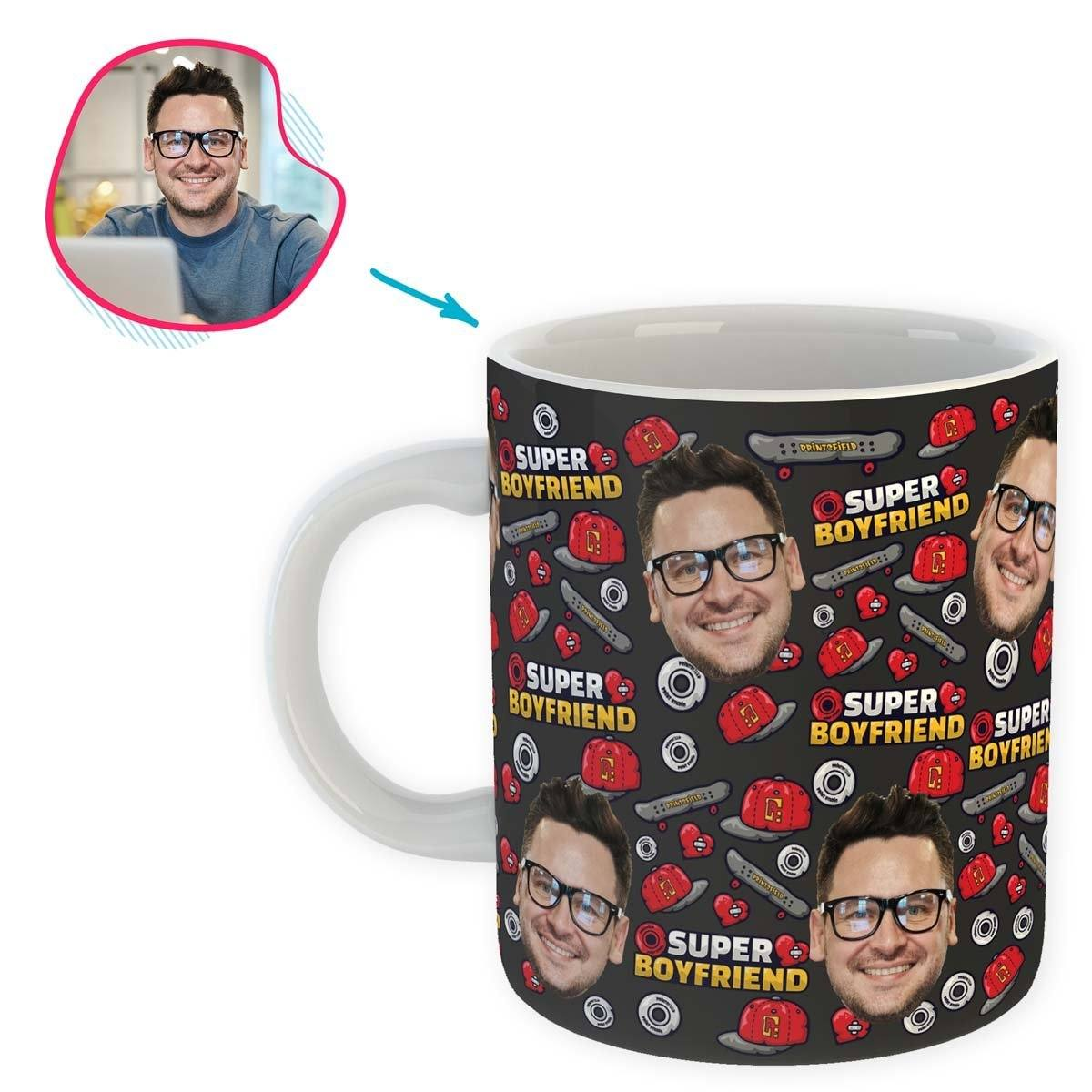 Dark Boyfriend personalized mug with photo of face printed on it