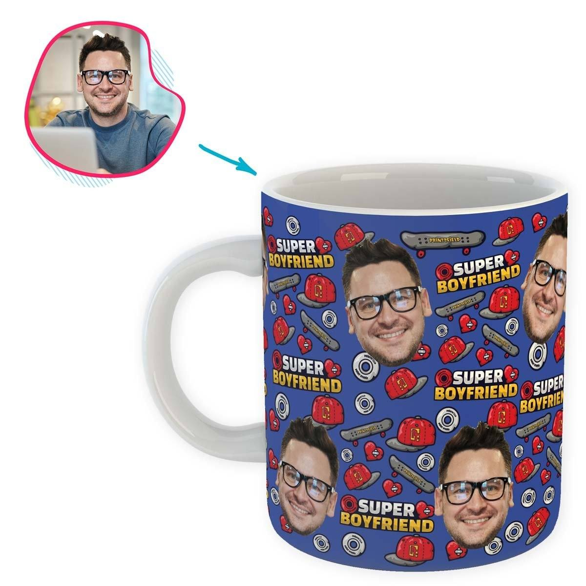 Darkblue Boyfriend personalized mug with photo of face printed on it