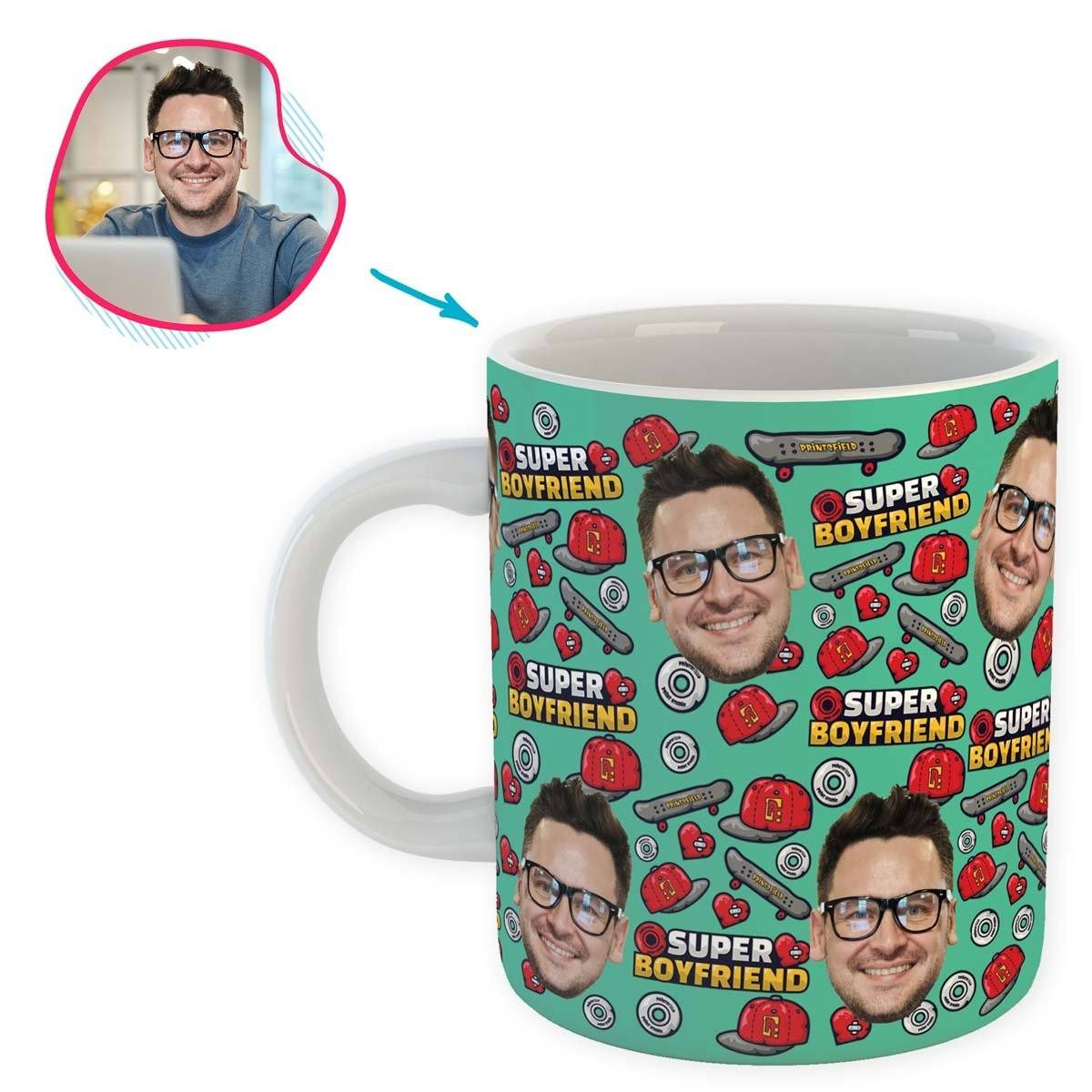 Mint Boyfriend personalized mug with photo of face printed on it