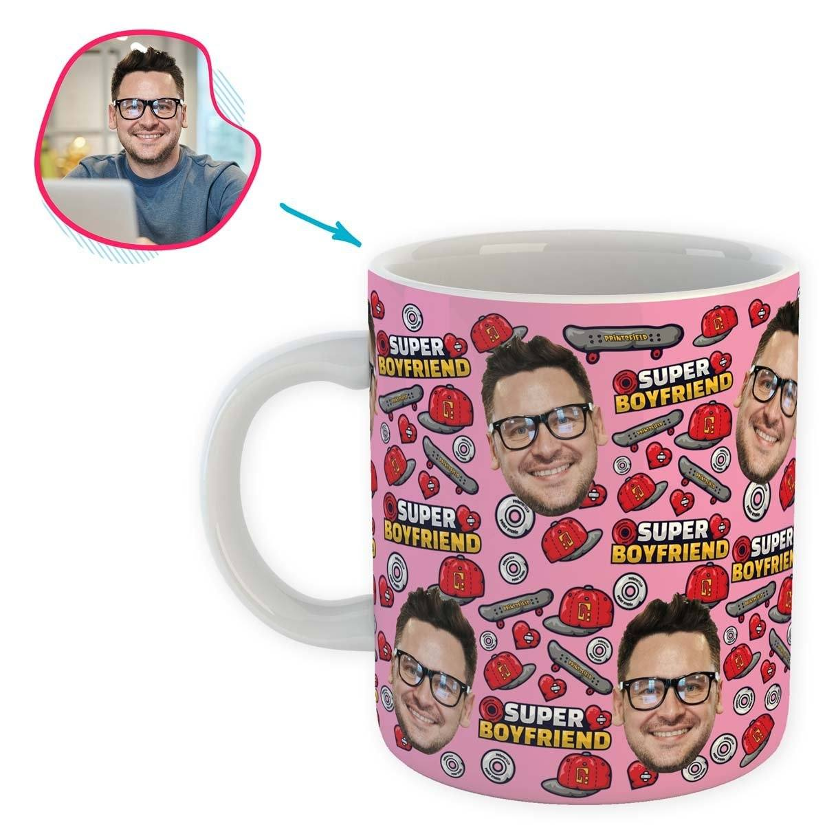 Pink Boyfriend personalized mug with photo of face printed on it