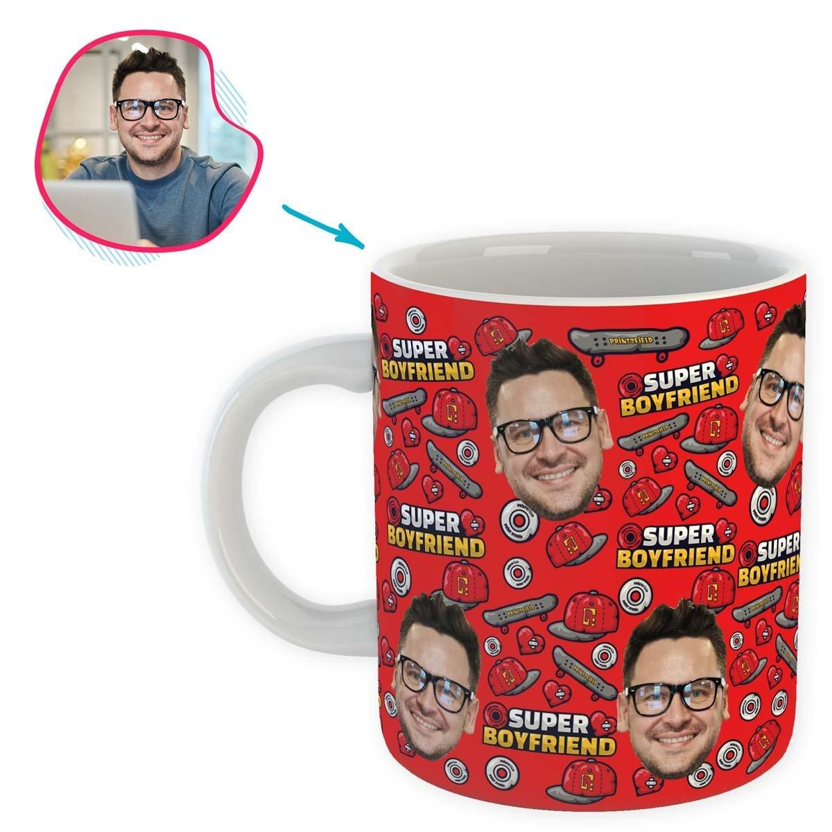 Red Boyfriend personalized mug with photo of face printed on it