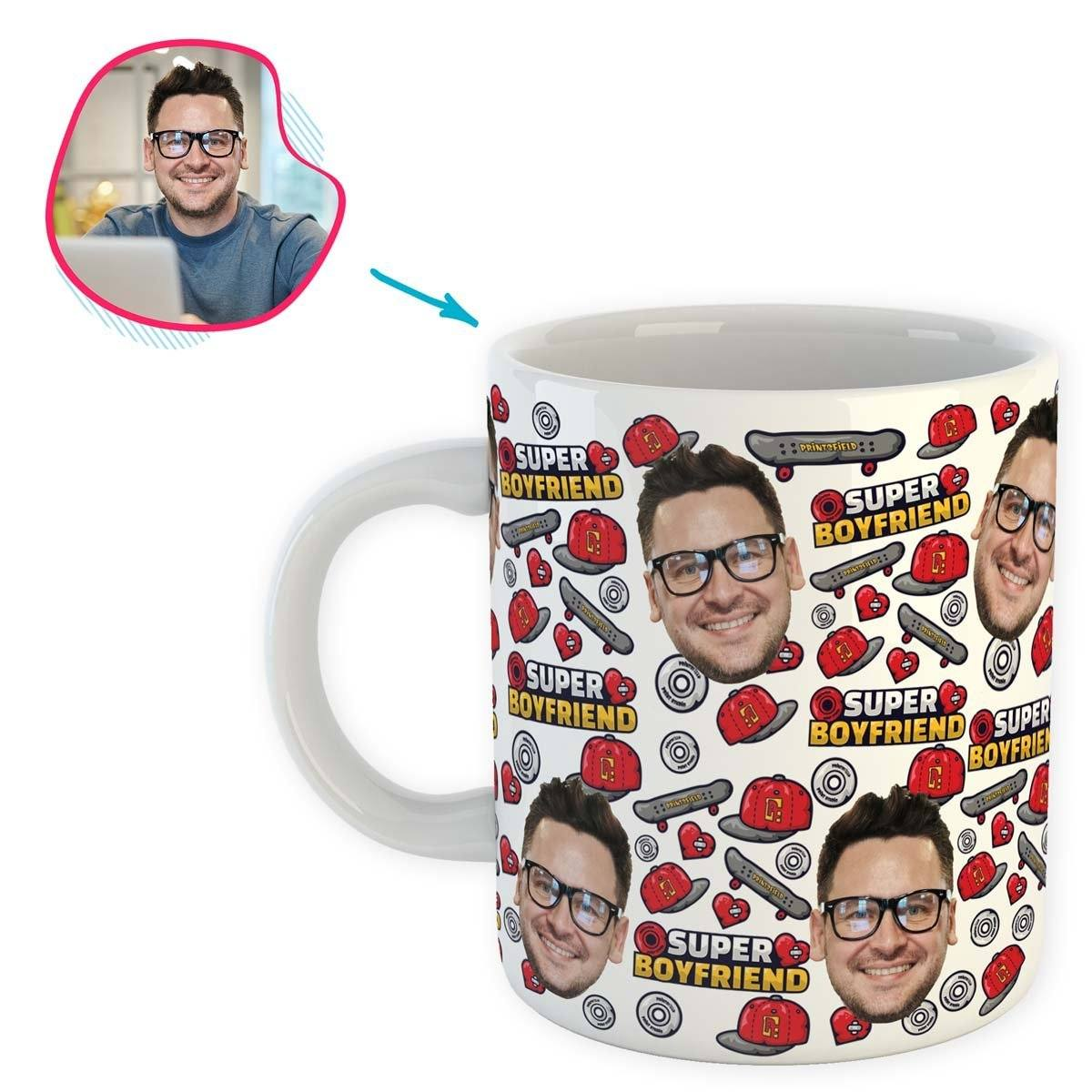 White Boyfriend personalized mug with photo of face printed on it