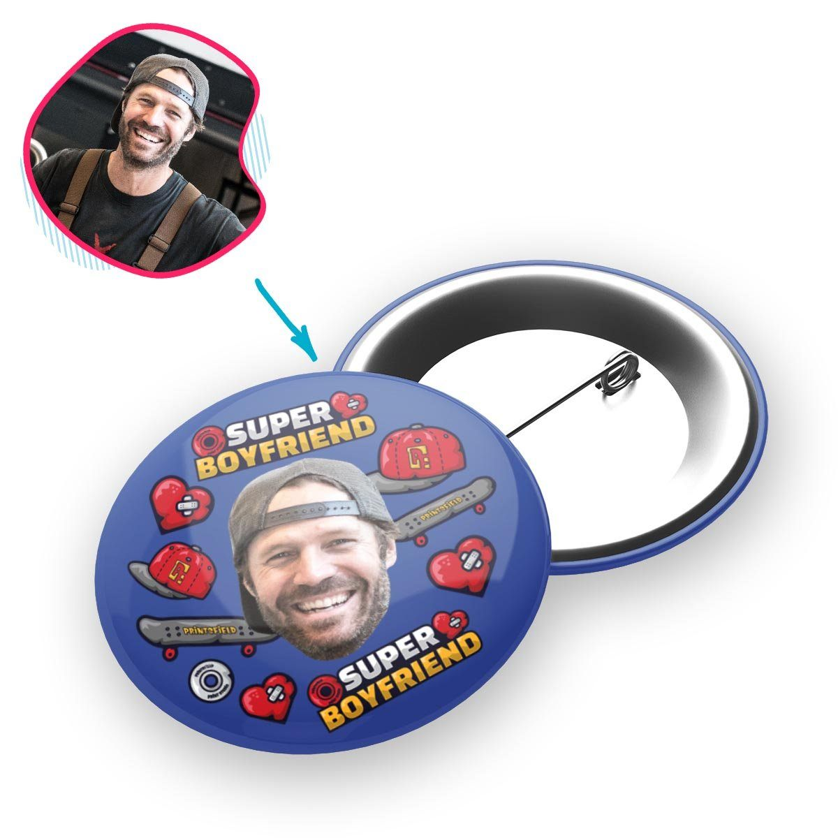 Darkblue Boyfriend personalized pin with photo of face printed on it
