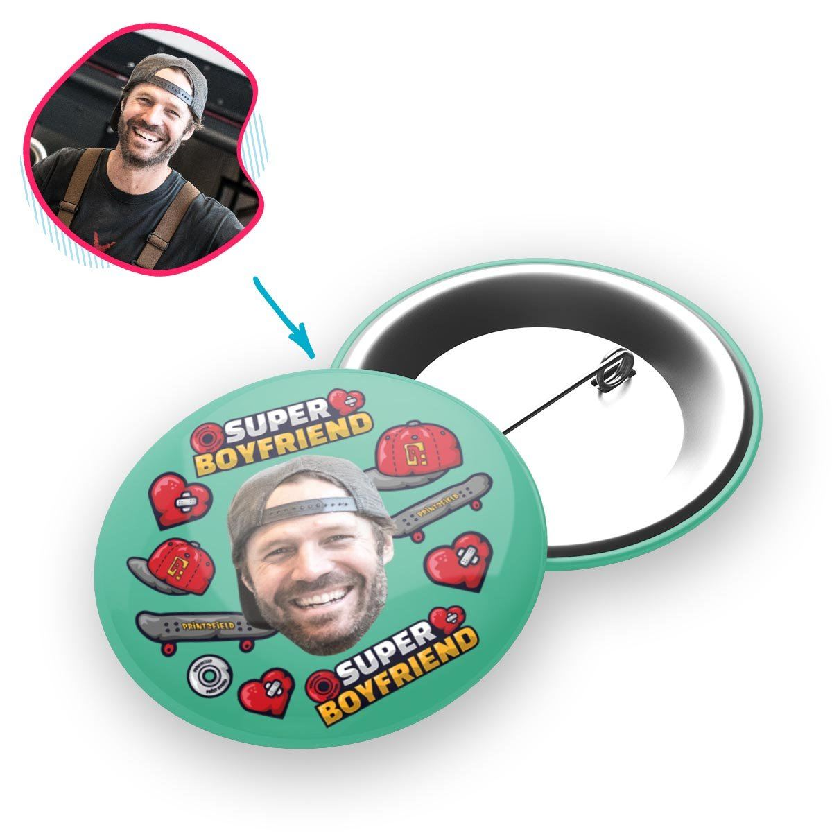 Mint Boyfriend personalized pin with photo of face printed on it