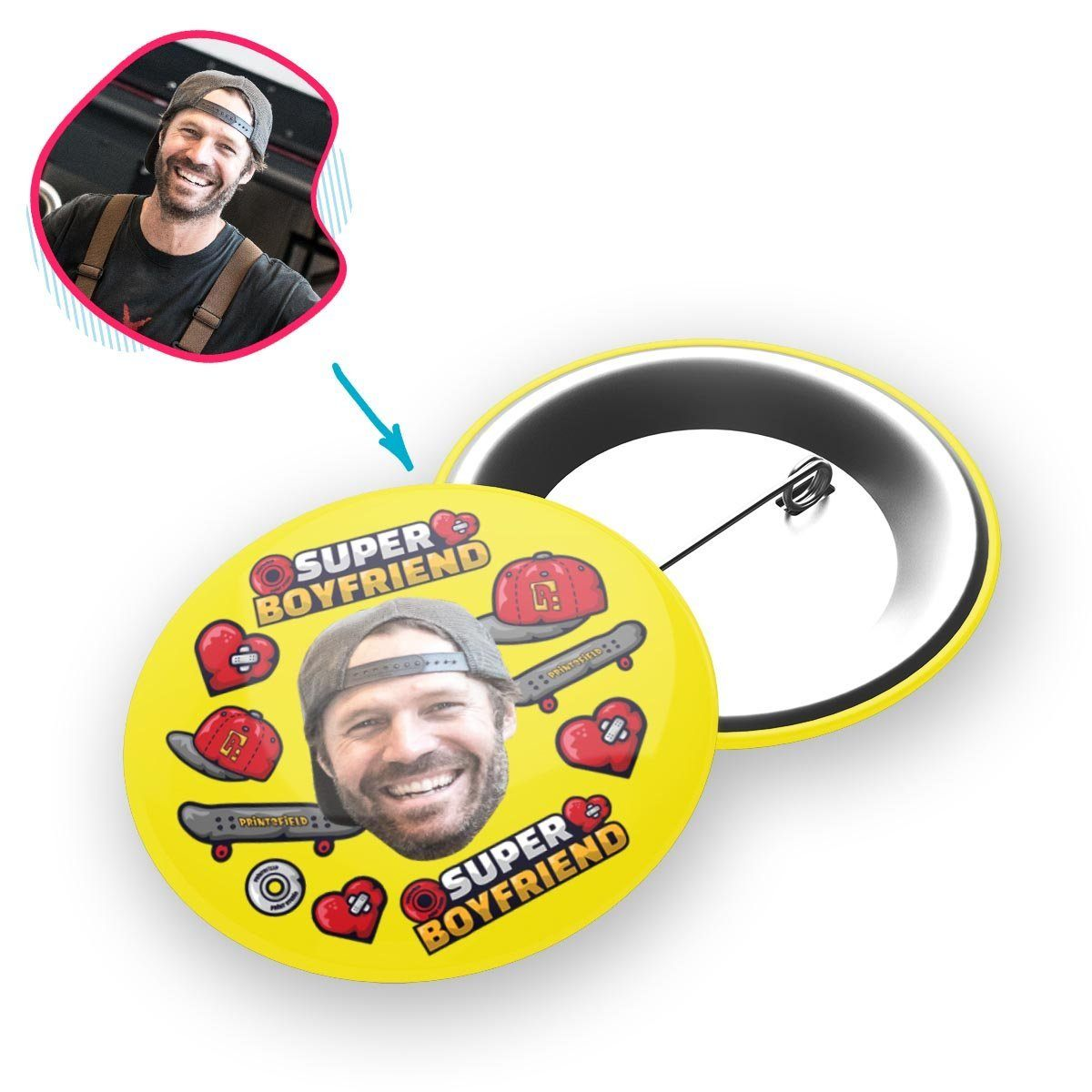 Yellow Boyfriend personalized pin with photo of face printed on it