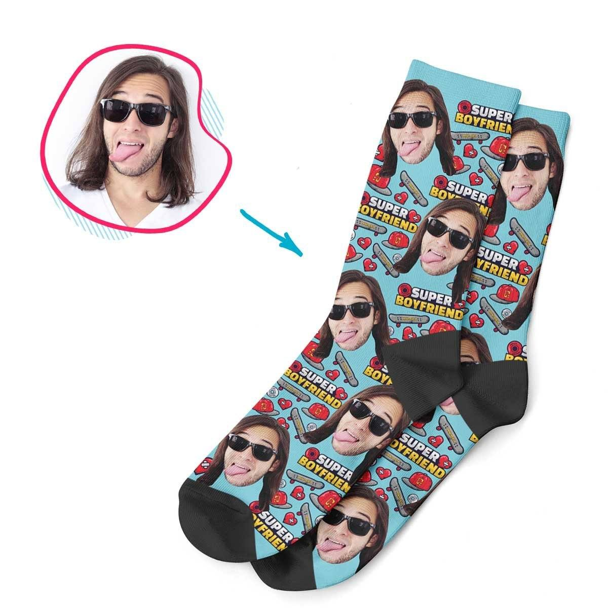 Blue Boyfriend personalized socks with photo of face printed on them