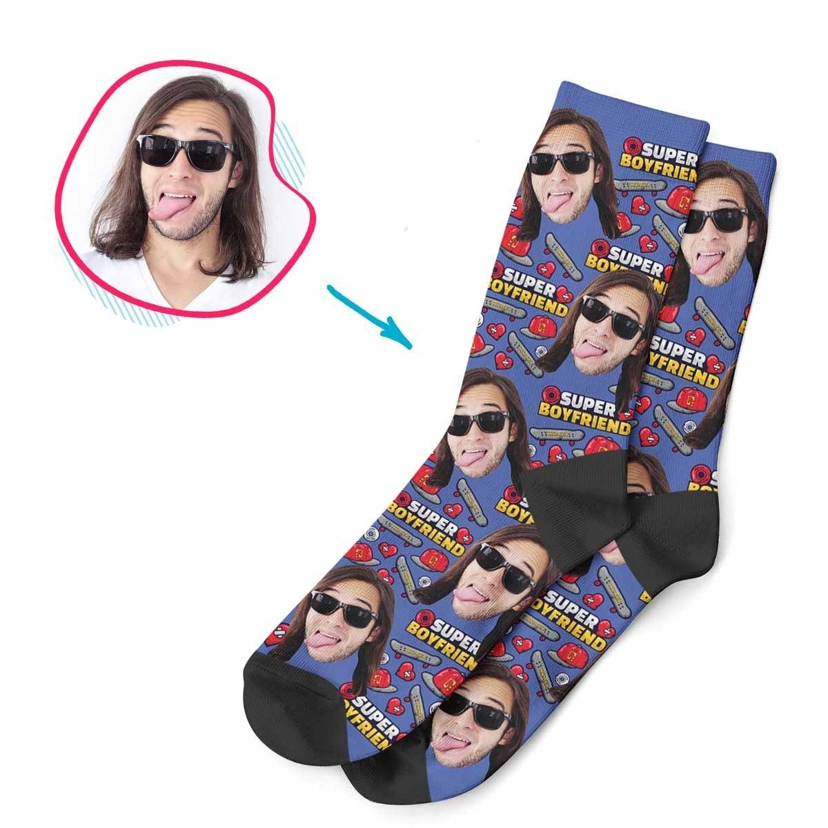 Darkblue Boyfriend personalized socks with photo of face printed on them