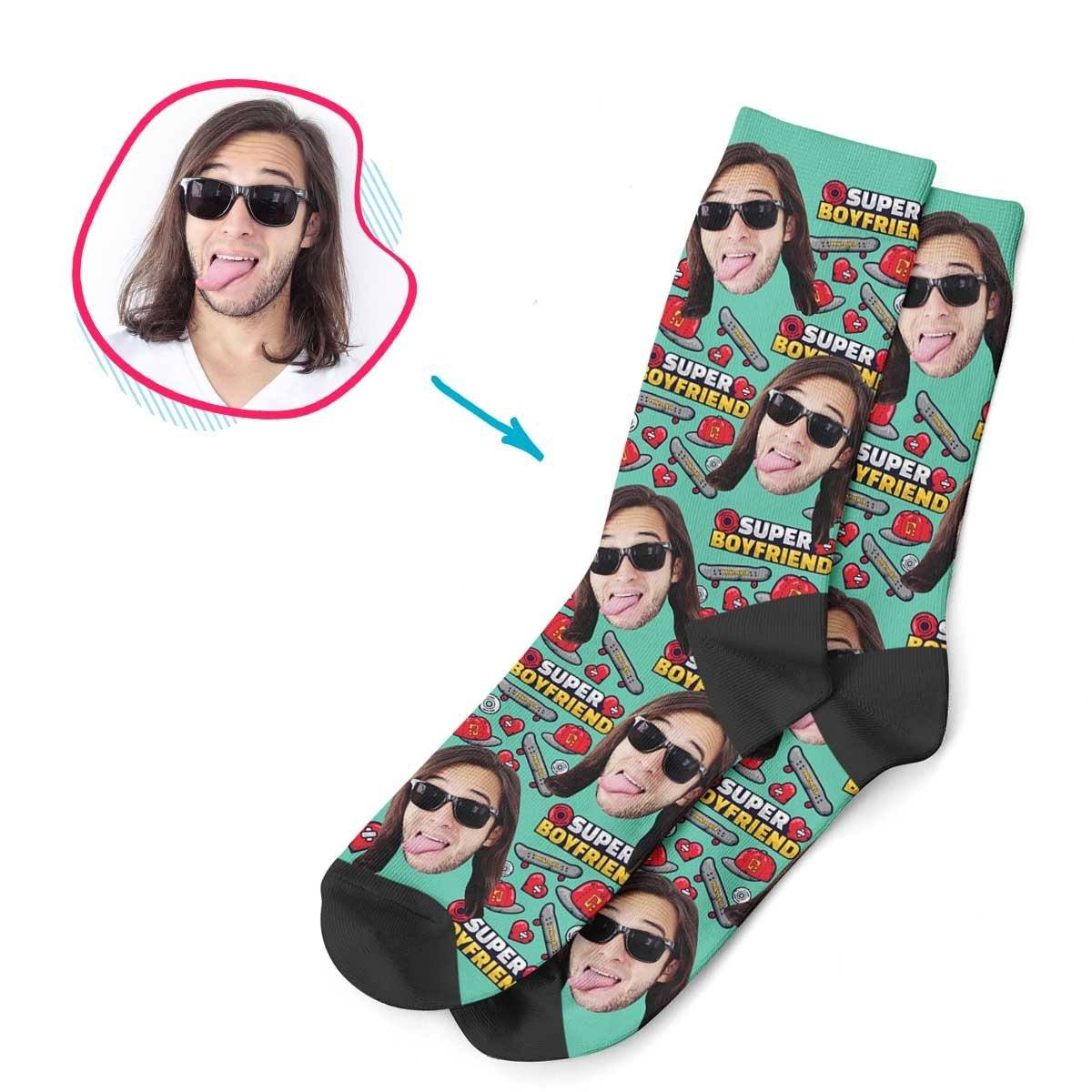Mint Boyfriend personalized socks with photo of face printed on them