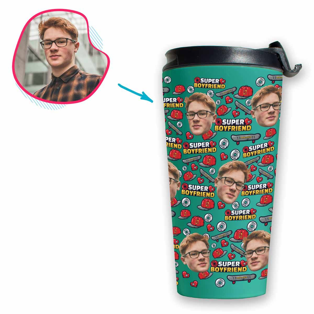 Mint Boyfriend personalized travel mug with photo of face printed on it