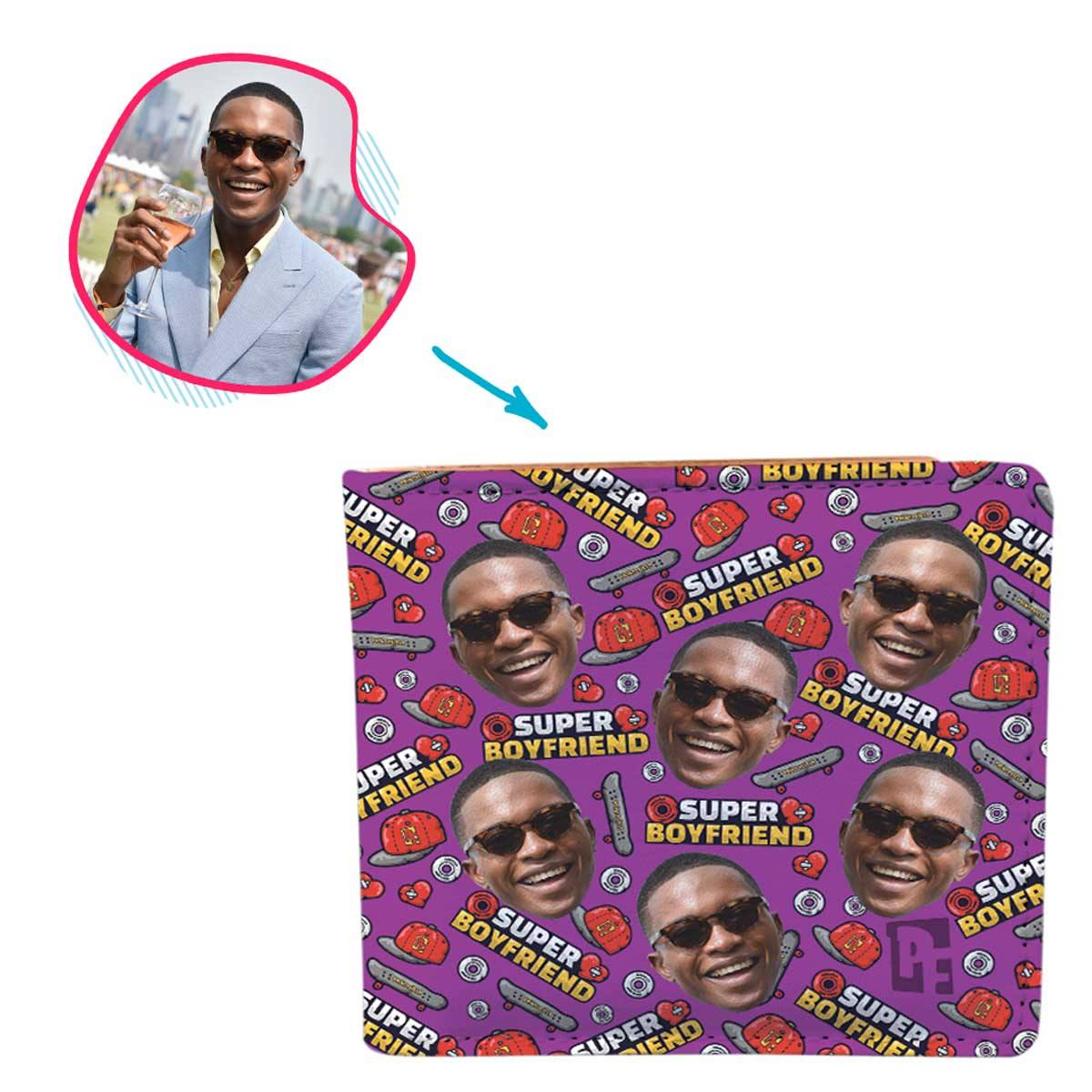 Purple Boyfriend personalized wallet with photo of face printed on it