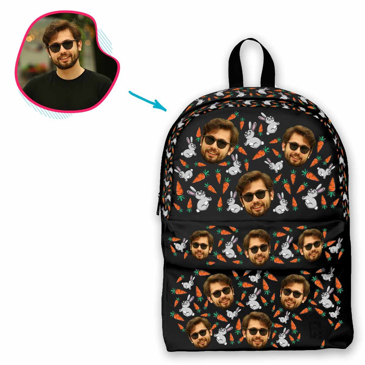 dark Bunny classic backpack personalized with photo of face printed on it