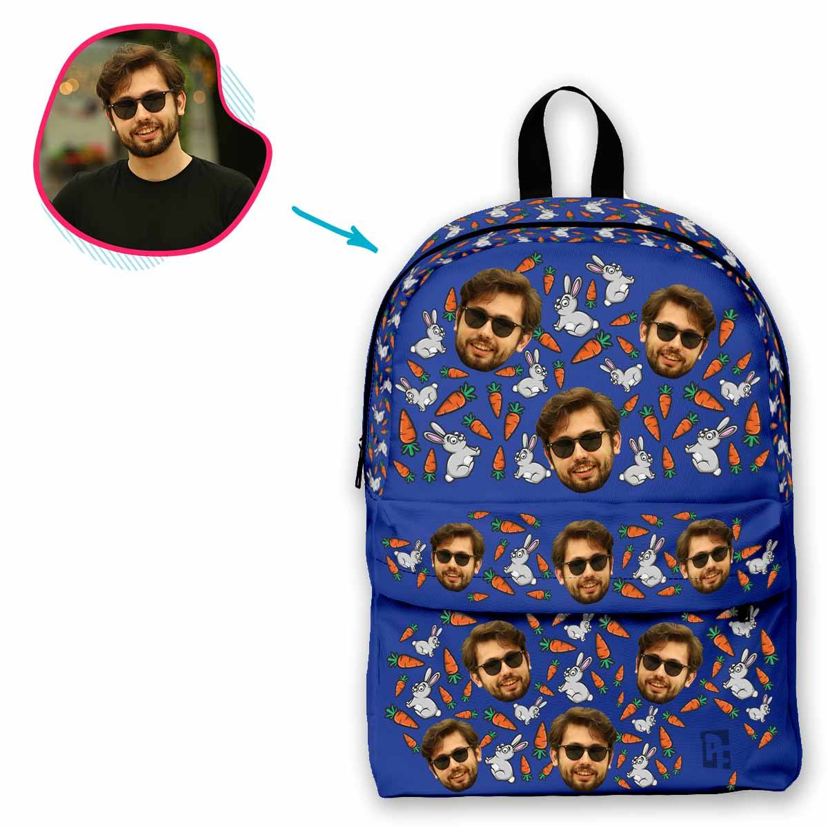 darkblue Bunny classic backpack personalized with photo of face printed on it