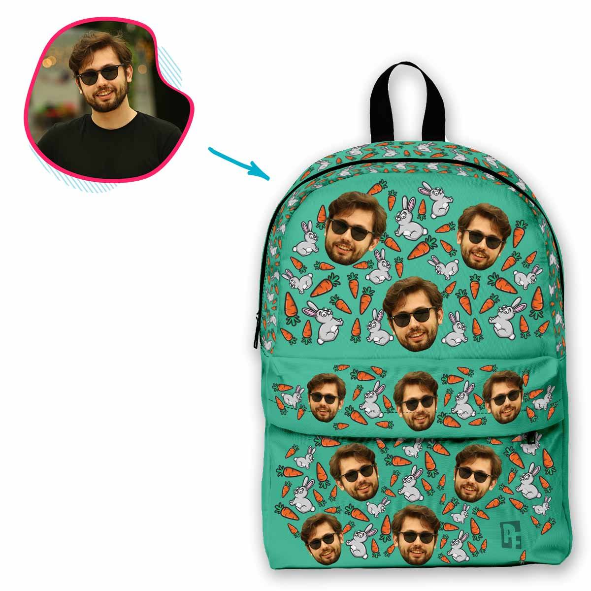 mint Bunny classic backpack personalized with photo of face printed on it