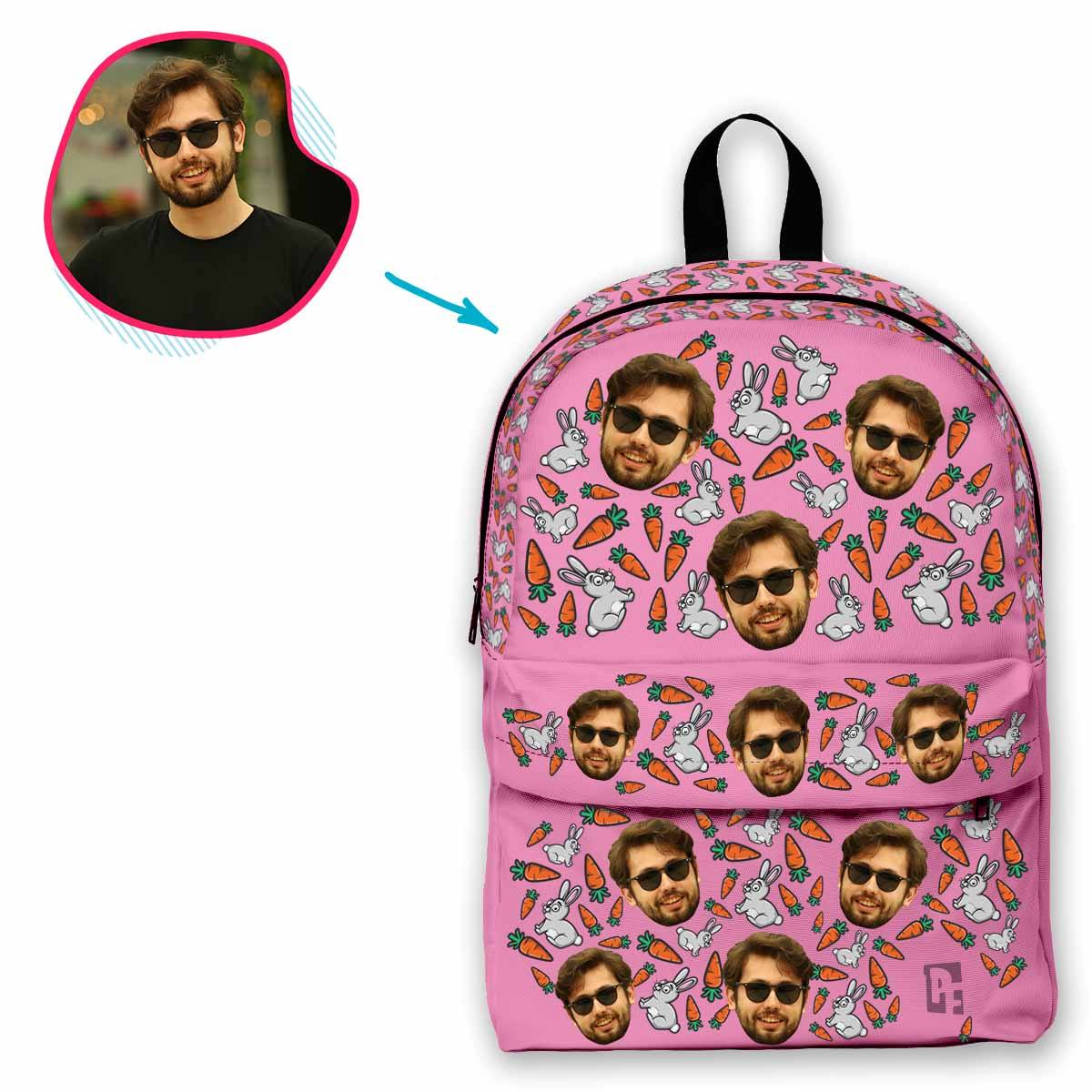 pink Bunny classic backpack personalized with photo of face printed on it