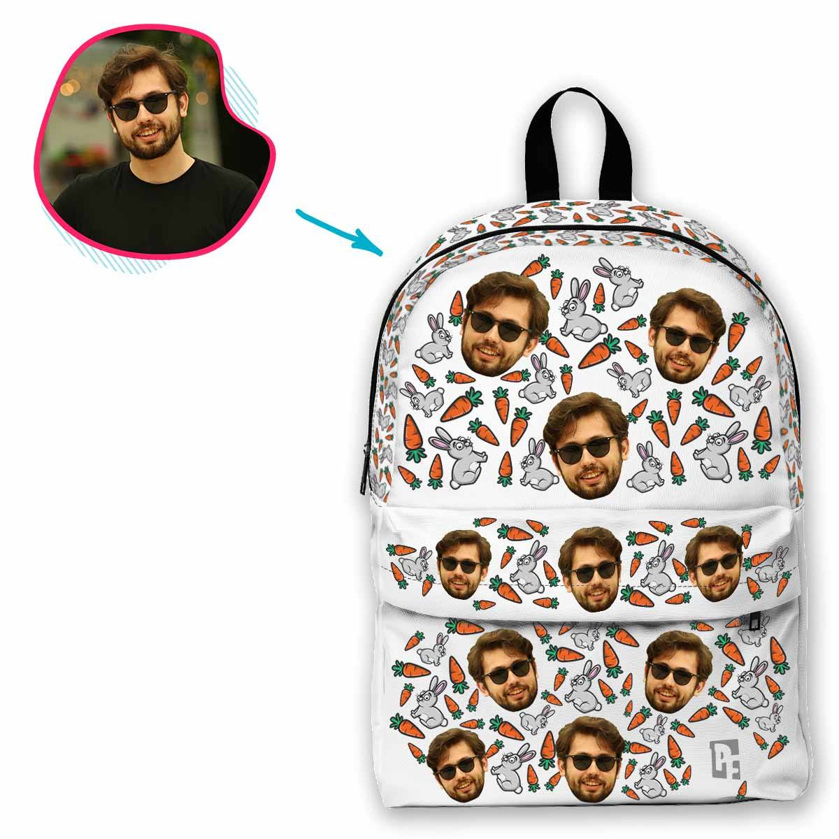 white Bunny classic backpack personalized with photo of face printed on it