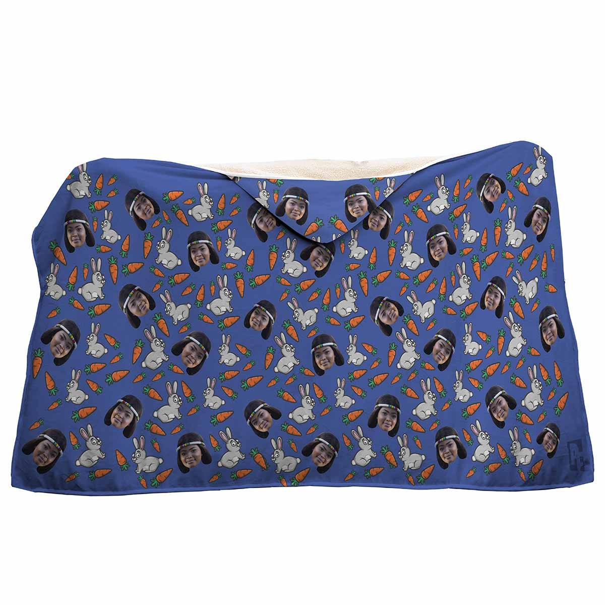 darkblue Bunny hooded blanket personalized with photo of face printed on it