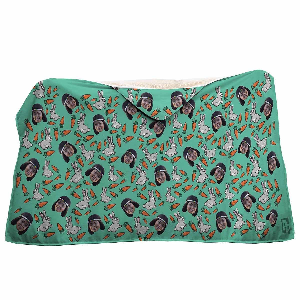 mint Bunny hooded blanket personalized with photo of face printed on it