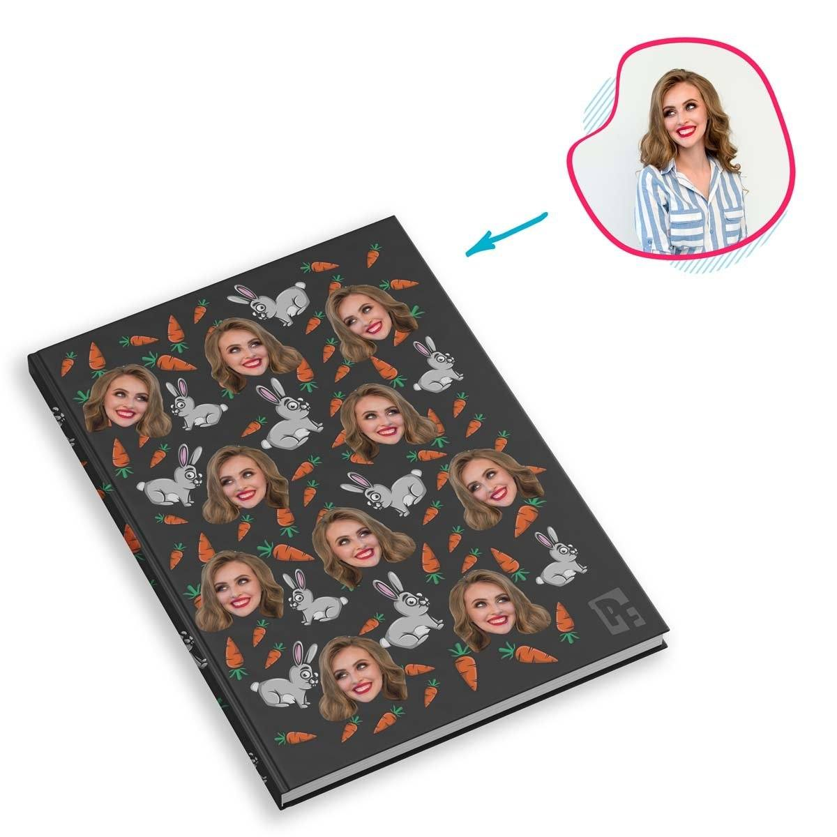 dark Bunny Notebook personalized with photo of face printed on them