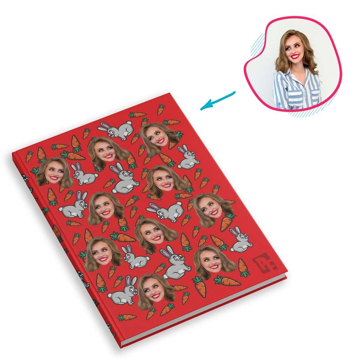 red Bunny Notebook personalized with photo of face printed on them