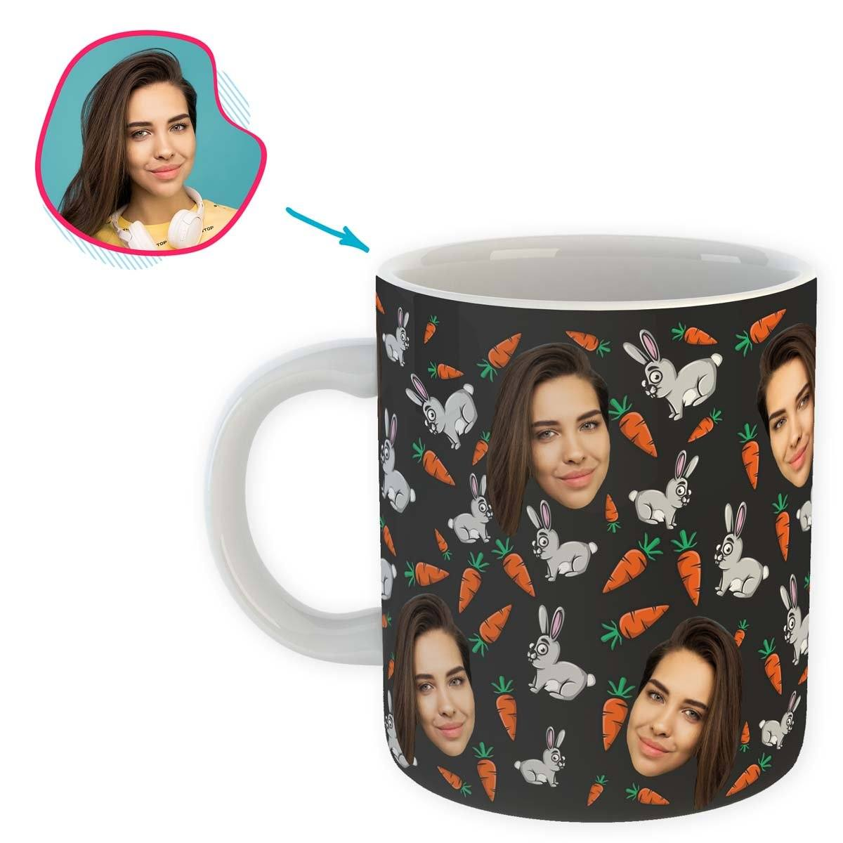 dark Bunny mug personalized with photo of face printed on it