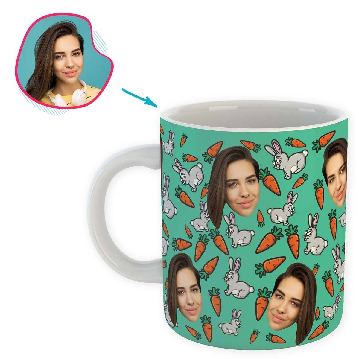 mint Bunny mug personalized with photo of face printed on it