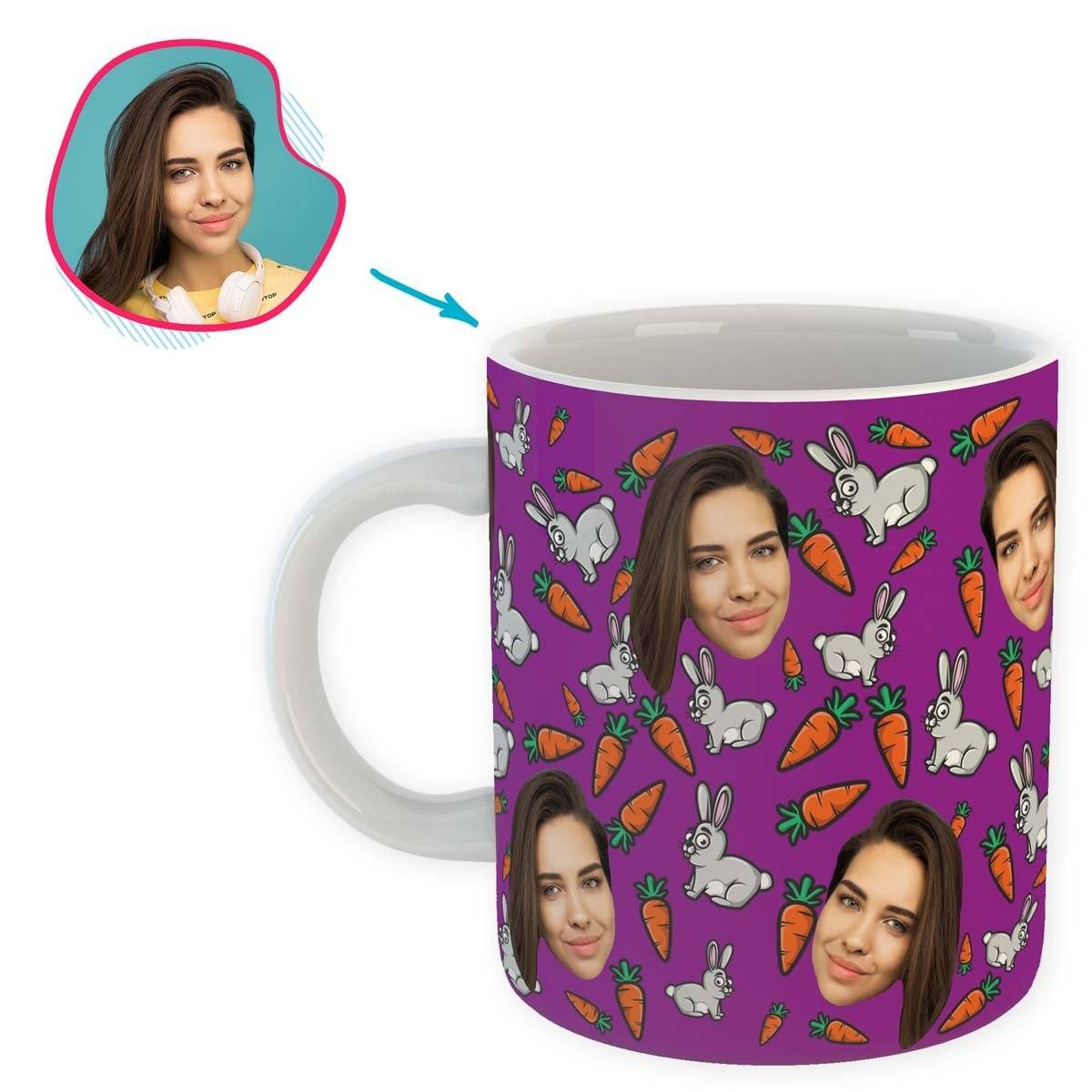 purple Bunny mug personalized with photo of face printed on it